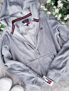 Tommy Hilfiger Jeans Gray Zip Up Cropped Sweater